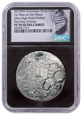 2019 Ascension Island First Man on the Moon Apollo 11 Ultra High Relief Domed 2 oz Silver Proof 1 Crown Coin NGC PF70 UC FDI Black Core Holder Astronaut Footprint Label