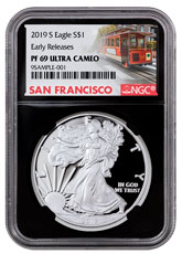 2019-S 1 oz Proof American Silver Eagle NGC PF69 UC ER Black Core Holder San Francisco Cable Car Label