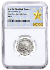 2019-W 25C Clad River of No Return Wilderness (Idaho) Quarter NGC MS64 West Point Star Label