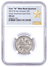 2019-W 25C Clad America the Beautiful San Antonio Missions Historical Park Quarter NGC MS64 West Point Star Label