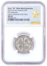 2019-W 25C Clad America the Beautiful San Antonio Missions Historical Park Quarter NGC MS67 FR West Point Star Label