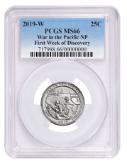 2019-W Clad War in the Pacific - Guam America the Beautiful Quarter PCGS MS66 First Week Issue Blue Label
