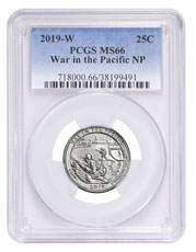 2019-W Clad War in the Pacific America the Beautiful Quarter PCGS MS66