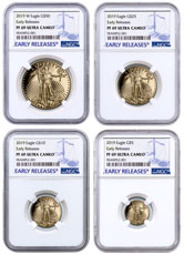 2019-W Gold American Eagle 4-Coin Set Proof NGC PF69 ER Blue Label