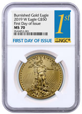 2019-W 1 oz Burnished Gold American Eagle $50 NGC MS70 FDI