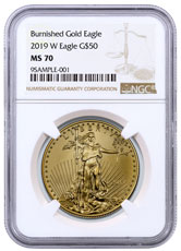 2019-W 1 oz Burnished Gold American Eagle $50 NGC MS70 Brown Label