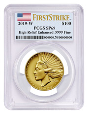 2019-W American Liberty Enhanced Finish High Relief $100 Gold Specimen Coin PCGS SP69 FS Flag Label
