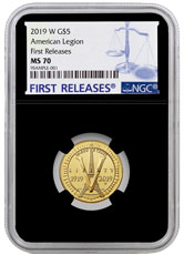 2019-W American Legion 100th Anniversary $5 Gold Commemorative Coin NGC MS70 FR Black Core Holder