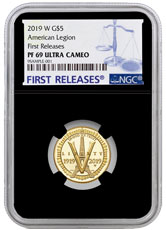 2019-W American Legion 100th Anniversary $5 Gold Commemorative Proof Coin NGC PF69 UC FR Black Core Holder