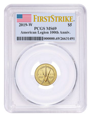 2019-W American Legion 100th Anniversary $5 Gold Commemorative Coin PCGS MS69 FS Flag Label