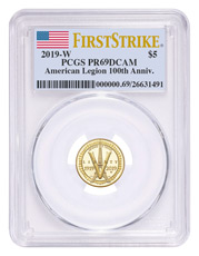 2019-W American Legion 100th Anniversary $5 Gold Commemorative Proof Coin PCGS PR69 DCAM FS Flag Label