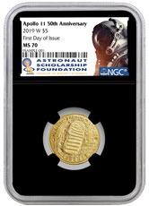 2019-W US Apollo 11 50th Anniversary $5 Gold Commemorative Coin NGC MS70 FDI Black Core Holder Astronaut Scholarship Foundation Label