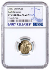 2019-W 1/10 oz Gold American Eagle Proof $5 NGC PF69 UC ER Blue Label