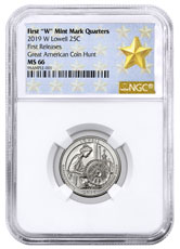 2019-W Lowell National Park America the Beautiful Quarter NGC MS66 FR West Point Star Label
