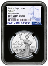 2019-W 1 oz Platinum American Eagle Liberty Proof $100 NGC PF70 UC ER Black Core Holder