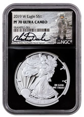 2019-W Proof American Silver Eagle NGC PF70 UC Black Core Holder Charlie Duke Signed Label