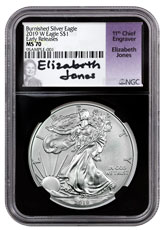 2019-W Burnished American Silver Eagle NGC MS70 ER Black Core Holder Elizabeth Jones Signed Label