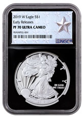 2019-W Proof American Silver Eagle NGC PF70 UC ER Black Core Holder West Point Silver Star Label