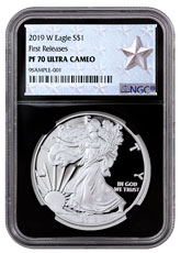 2019-W Proof American Silver Eagle NGC PF70 UC FR Black Core Holder West Point Silver Star Label