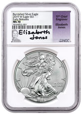 2019-W Burnished American Silver Eagle NGC MS70 ER Elizabeth Jones Signed Label