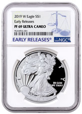 2019-W Proof American Silver Eagle NGC PF69 UC ER Blue Label