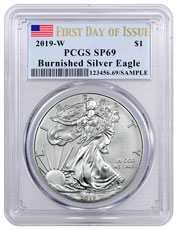 2019-W Burnished American Silver Eagle PCGS SP69 FDI Flag Label