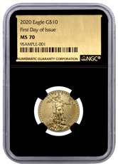 2020 1/4 oz Gold American Eagle $10 NGC MS70 FDI Black Core Holder Exclusive Gold Foil Label