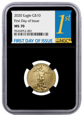 2020 1/4 oz Gold American Eagle $10 NGC MS70 FDI Black Core Holder