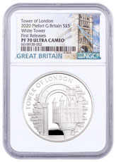 2020 Great Britain Tower of London The White Tower Piedfort Silver Proof £5 Coin NGC PF70 UC FR White Core Holder Great Britain Label
