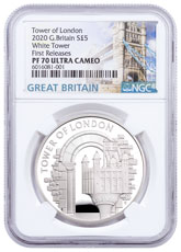 2020 Great Britain Tower of London The White Tower Silver Proof £5 Coin NGC PF70 UC FR White Core Holder Great Britain Label