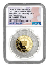 2020 Australia $75 1.5-oz Silver & Gold Bi-Metal Adelaide Pound Scarce and Unique Coin Division NGC PF70 UC FDI Australia Flag Label