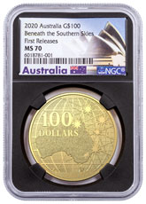2020 Australia Beneath the Southern Skies 1 oz Gold $100 Coin NGC MS70 FR Black Core Holder Opera House Label