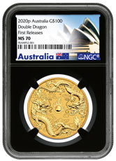 2020-P Australia 1 oz Gold Double Dragon $100 Coin NGC MS70 FR Black Core Holder Opera House Label