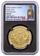 2020 Great Britain 1 oz Gold Royal Coat of Arms £100 Coin NGC MS69 FR Black Core Holder Big Ben Label