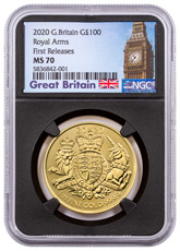 2020 Great Britain 1 oz Gold Royal Coat of Arms £100 Coin NGC MS70 FR Black Core Holder Big Ben Label