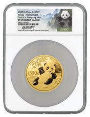 2020 China 100 g Gold Panda Proof ¥1,500 Coin Scarce and Unique Coin Division NGC PF70 UC FR Song Lina Signed Label