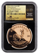 2020 South Africa 2 oz Gold Krugerrand Proof Coin Scarce and Unique Coin Division NGC PF69 UC One of First 40 Struck First Day of Production Black Core Holder Tumi Signed Gold Label