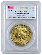 2020 1 oz Gold Buffalo $50 Coin PCGS MS70 FDI Flag Label