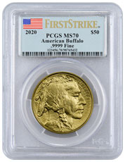 2020 1 oz Gold Buffalo $50 Coin PCGS MS70 FS Flag Label
