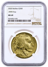 2020 1 oz Gold Buffalo $50 Coin NGC MS69