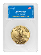 2020 1 oz Gold American Eagle with MintID Encrypted NFC Microchip $50 Coin GEM BU MintID Holder