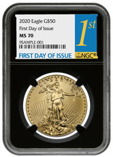 2020 1 oz Gold American Eagle $50 NGC MS70 FDI Black Core Holder