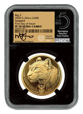 2020 South Africa Big 5 - Spotted Leopard 1 oz Gold Proof R50 Coin Scarce and Unique Coin Division NGC PF70 UC FDI Tumi Signature Big 5 Label