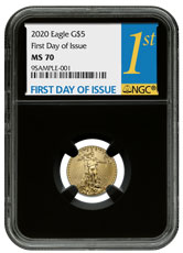 2020 1/10 oz Gold American Eagle $5 NGC MS70 FDI Black Core Holder