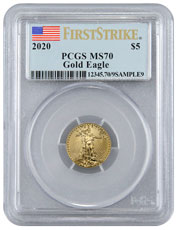 2020 1/10 oz Gold American Eagle $5 PCGS MS70 FS Flag Label
