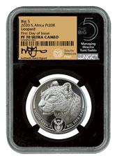 2020 South Africa Big 5 - Spotted Leopard 1 oz Platinum Proof R20 Coin Scarce and Unique Coin Division NGC PF70 UC FDI Tumi Signature Big 5 Label
