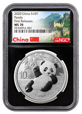 2020 China 30 g Silver Panda ¥10 Coin NGC MS70 FR Black Core Holder Great Wall Label