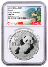 2020 China 30 g Silver Panda ¥10 Coin NGC MS69 ER Great Wall Label