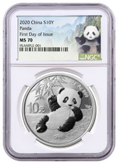 2020 China 30 g Silver Panda ¥10 Coin NGC MS70 FDI Panda Label