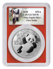 2020 China 30 g Silver Panda ¥10 Coin PCGS MS70 FS Red Frame Custom Panda Label